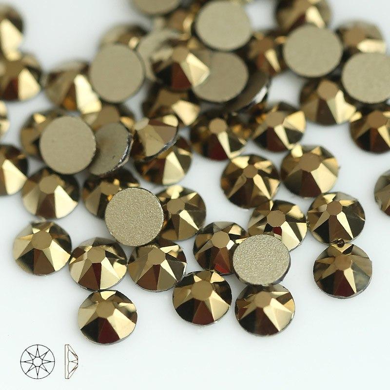 Стрази скло! мікс колір - золото , 100шт