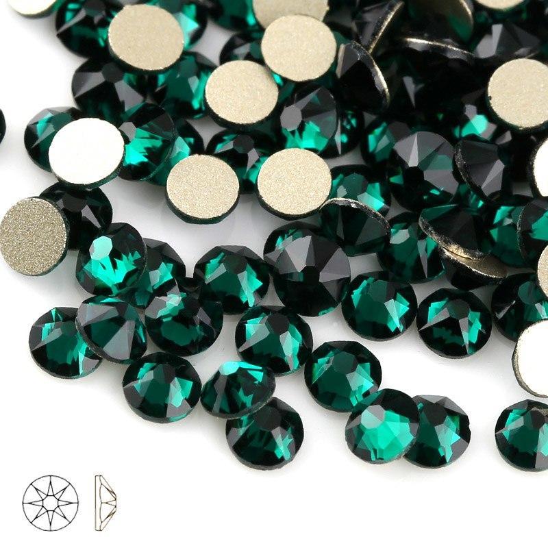 Стразы стекло! ss6  цвет - зеленый изумруд, 100шт