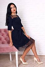 Эффектное и нарядное женское платье из креп дайвинга и евросетки в горошек
