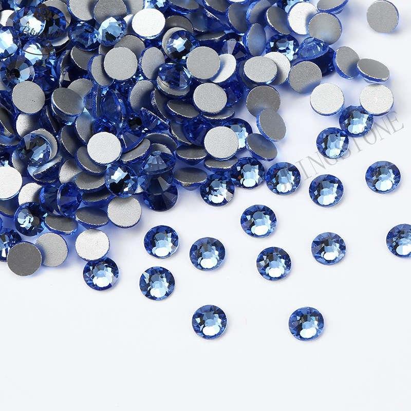 Стразы стекло! ss6  цвет - голубой топаз, 100шт