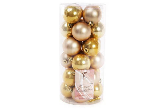Набор елочных шаров, 6см, 24шт; цвет - светлое золото, 12шт - перламутр, 12шт - матовый BonaDi