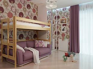 Ліжко двоярусне в дитячу кімнату з дерева Горище 90*190 (Бук) Неомеблі