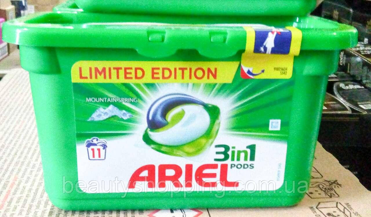 Капсулы для стирки Ariel 3in1 Mountain Spring 11 штук