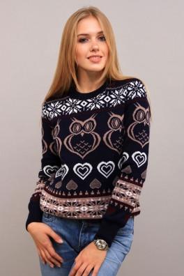 Вязаный свитер женский Сова (темно-синий+ капучино) 13194