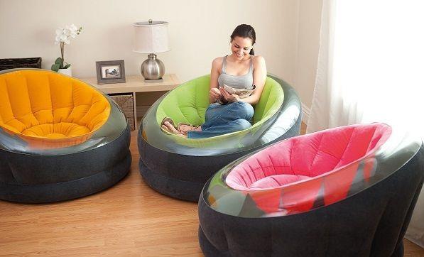 Надувное велюровое кресло Intex 68582