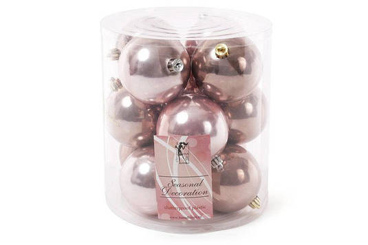 Набор елочных шаров 8см, микс цветов - розового и медно-коричневого, 12 шт перламутр по 6 шт в цвете BonaDi