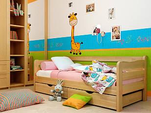 Підліткове ліжко з дерева в дитячу кімнату (кроватка) Соня 2 (Бук) 80*190 Неомеблі