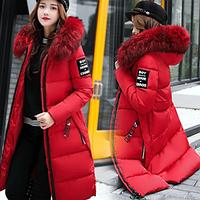 Женский удлиненный зимний пуховик, парка Steel красный, фото 1