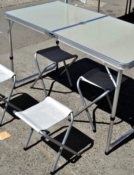 Алюминиевый столик +4 стула