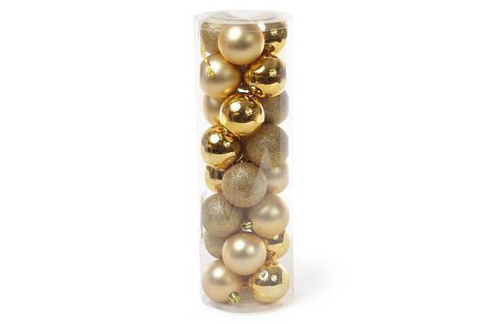 Набор елочных шаров, 6см, 24шт; цвет - яркое золото, глитер,матовый, глянец - по 8шт BonaDi