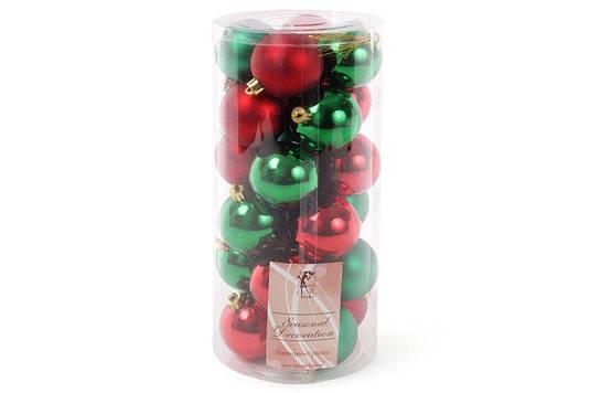 Набор елочных шаров Рождественский, 6см, цвет - красный и зеленый, 24 шт матовый, глянец - по 6 шт в каждом цв