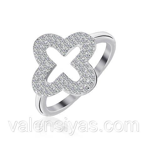 Серебряное кольцо Четырехлистник с фианитами КК2Ф/1012, фото 2