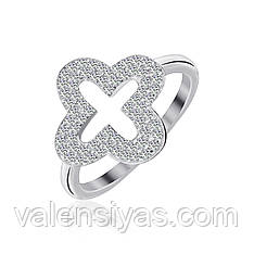 Серебряное кольцо Четырехлистник с фианитами КК2Ф/1012
