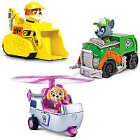 Paw Patrol Щенячий патруль набор Rescue Racers Vehicle Rubble, Rocky and Skye