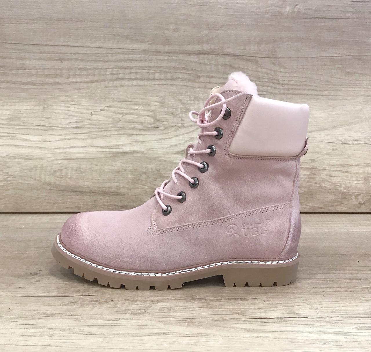 Бледно-розовые кожаные женские ботинки угг UGG Women's Boots Pink