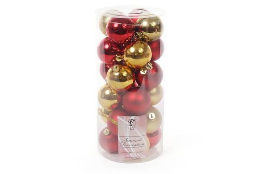 Набор елочных шаров, 6см, 24шт; цвет - золото с красным; матовый, глянец - по 6шт в каждом цвете BonaDi