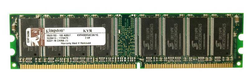 Оперативная память для компьютера 1Gb DDR, 400 MHz (PC3200), Kingston, CL3 (KVR400X64C3A/1G), фото 2