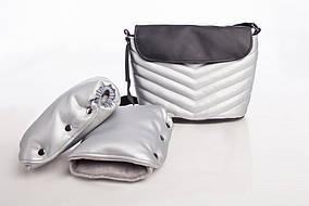 Комплект сумка и рукавицы на коляску DECOZA.MOMS эко кожа Серебристый (DM-K-1)