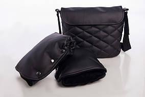 Комплект сумка и рукавицы на коляску DECOZA.MOMS эко кожа Черный (DM-K-2)
