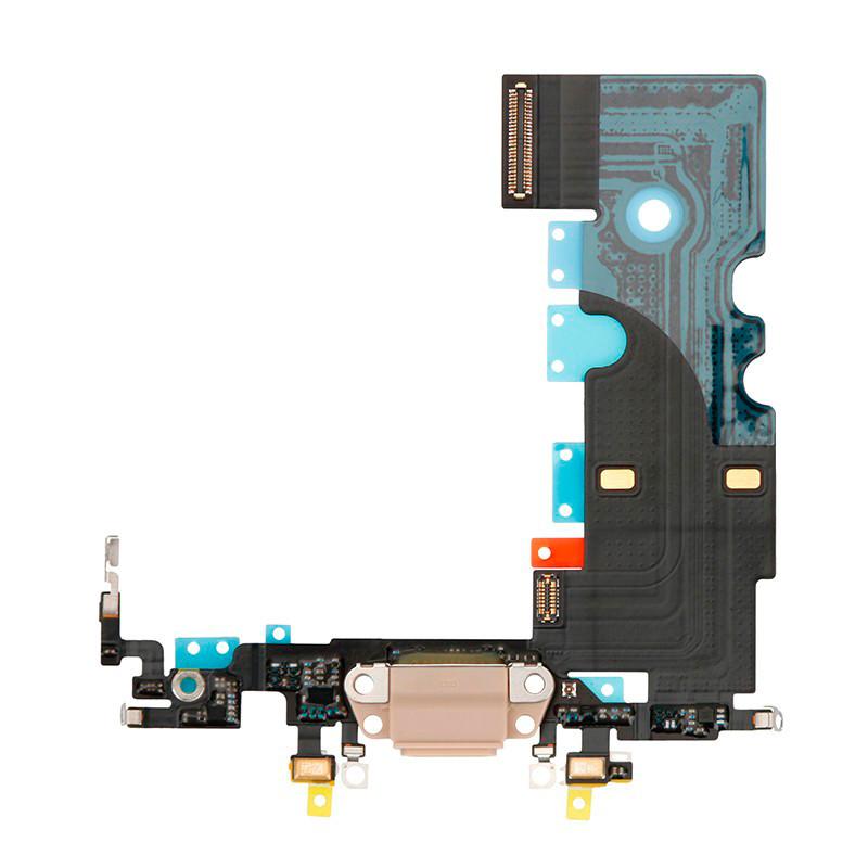 Шлейф (Flat, Flex cable) Apple iPhone 8 с гнездом зарядки и компонентами Gold