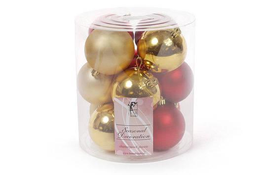 Набор елочных шаров 8см, цвет - золото с красным, 12шт матовый, глянец - по 3шт в каждом цвете BonaDi