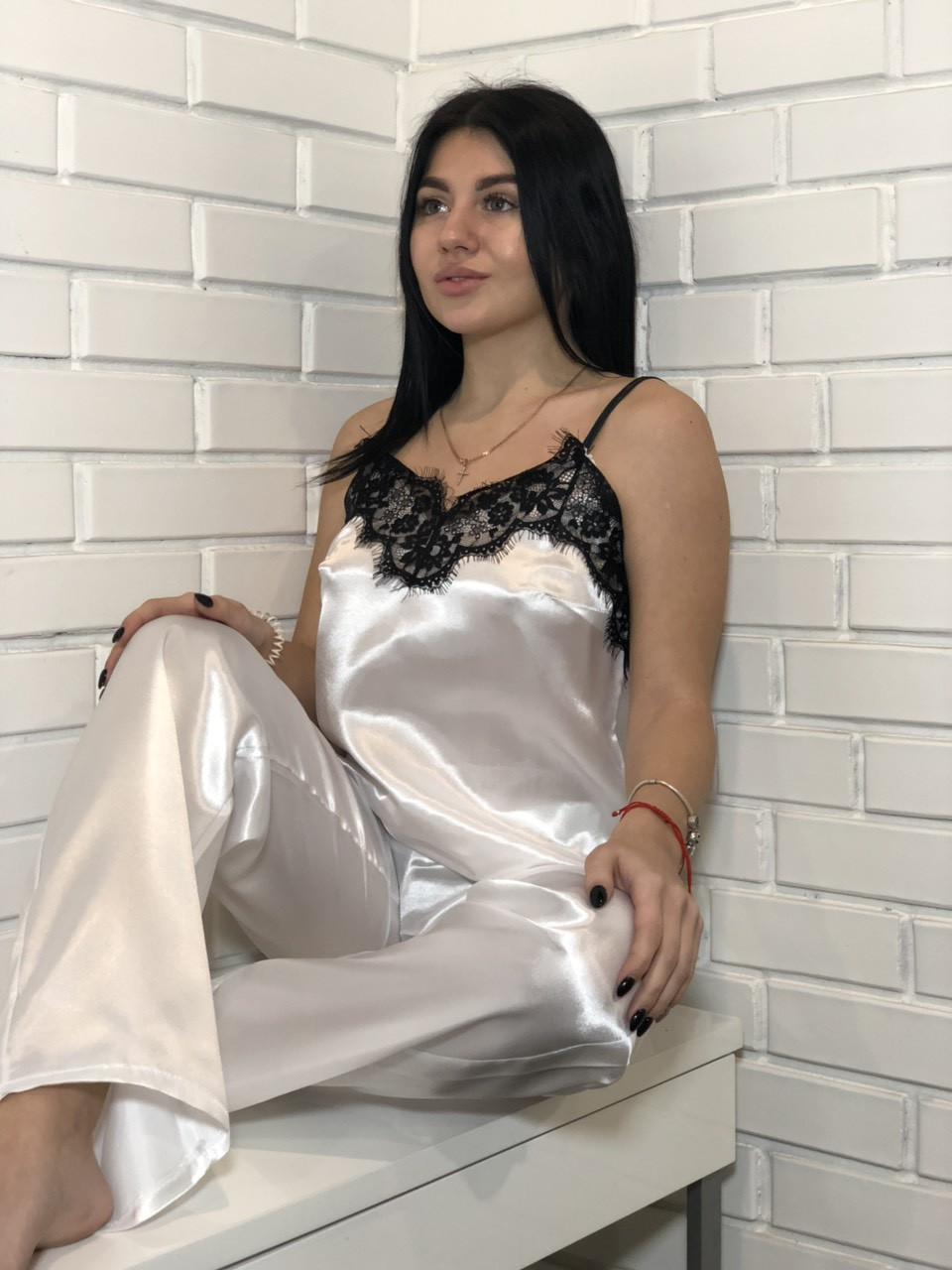 Белый атласный женский комплект пижамы: майка и штаны: 050 белый