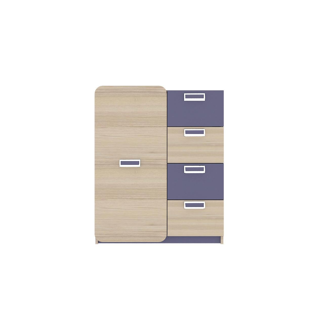 Комод в дитячу кімнату з ДСП/МДФ JASMINE S Blonski коімбра+фіолет синій