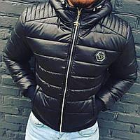 Мужская тёплая куртка Philipp Plein с капюшоном   топ качества   бирка