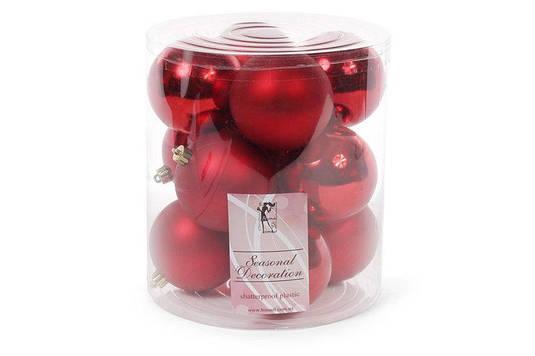 Набор елочных шаров 8см, цвет - красный, 12шт матовый, глянец по 6шт BonaDi