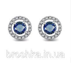 Серьги гвоздики с синим камнем Swarovski бижутерия