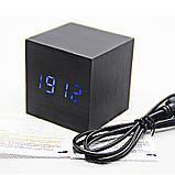 """Цифрові світлодіодні дерев'яні годинник """"КУБ"""", фото 4"""