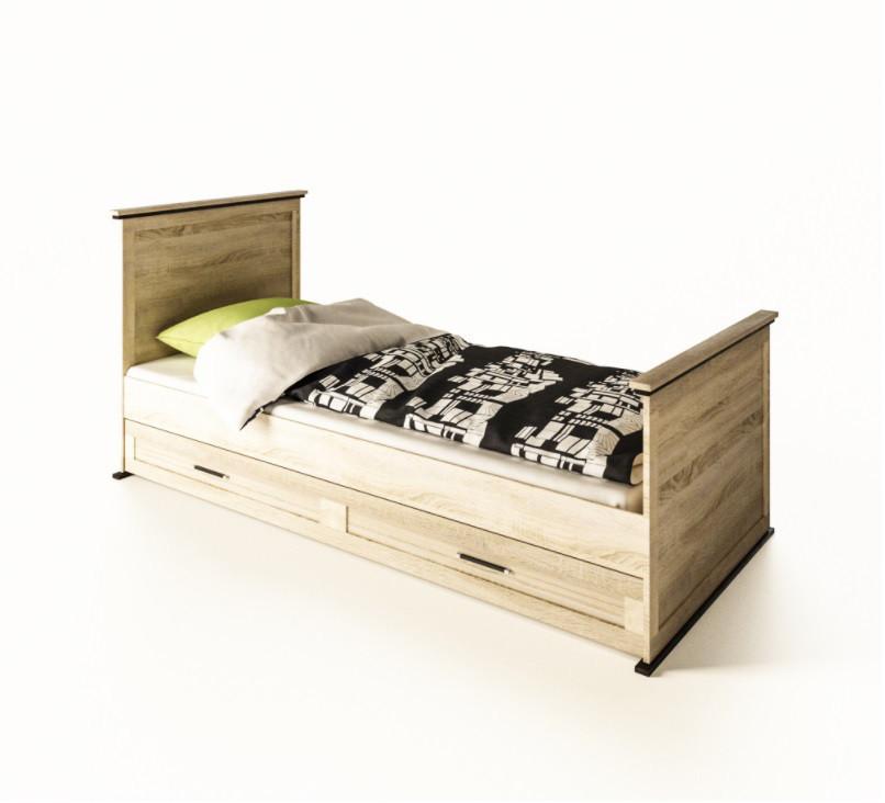Ліжко дитяче з ДСП/МДФ 1-сп (б/матрасу та каркаса) дуб сонома Палермо Світ Меблів
