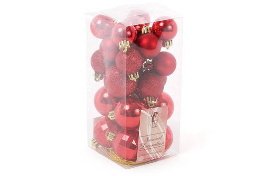 Набор елочных шаров микс, цвет - красный, 26 шт 4cм - глянец 4шт, рельеф - 4шт, глитер - 2 шт; 3см - глянец 6ш