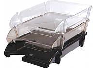 """Лоток для бумаг """"Economix"""" горизонтальный """"Компакт"""" пластик дымчатый E80601"""