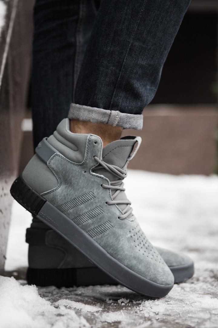 Кроссовки на меху мужские Adidas тубулар серые топ реплика