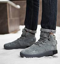 Кроссовки на меху мужские Adidas тубулар серые топ реплика, фото 2