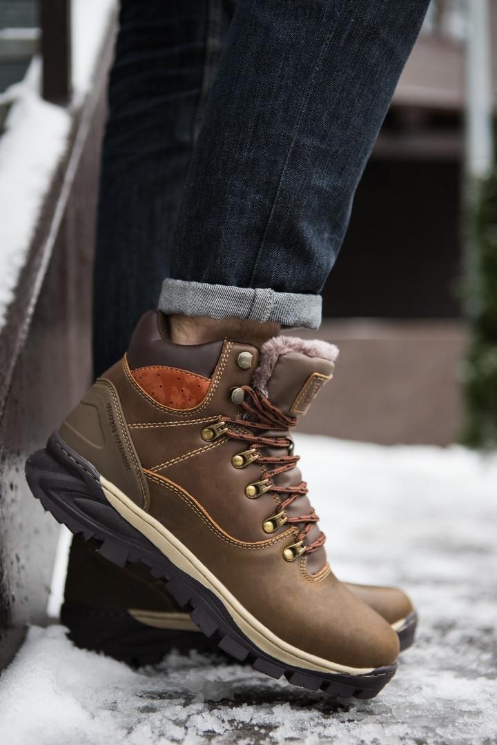 Кроссовки на меху мужские Арриго Аутдор коричневые топ реплика