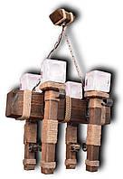 Люстра подвес из натурального дерева на 4 лампы. 07604ФП