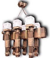 Люстра подвес из натурального дерева на 6 ламп. 07606 ФП