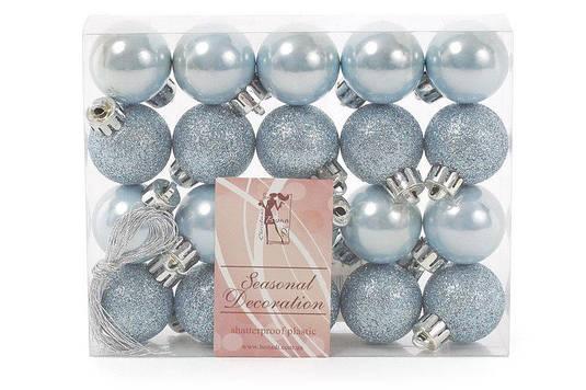 Набор елочных шаров 3см, цвет - голубой, 20 шт перламутр, глитер - по 10 шт BonaDi
