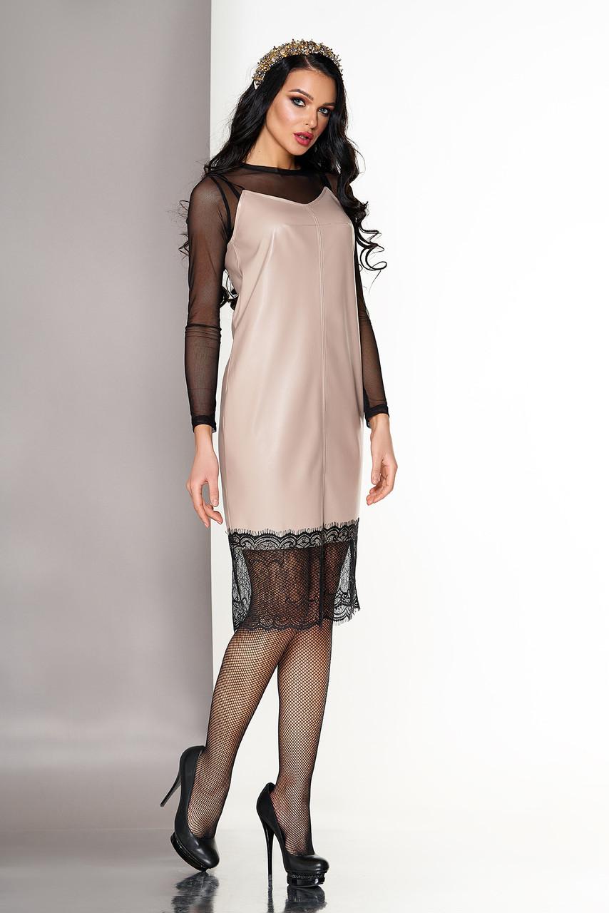Кожаное платье двойка в бельевом стиле бежевое