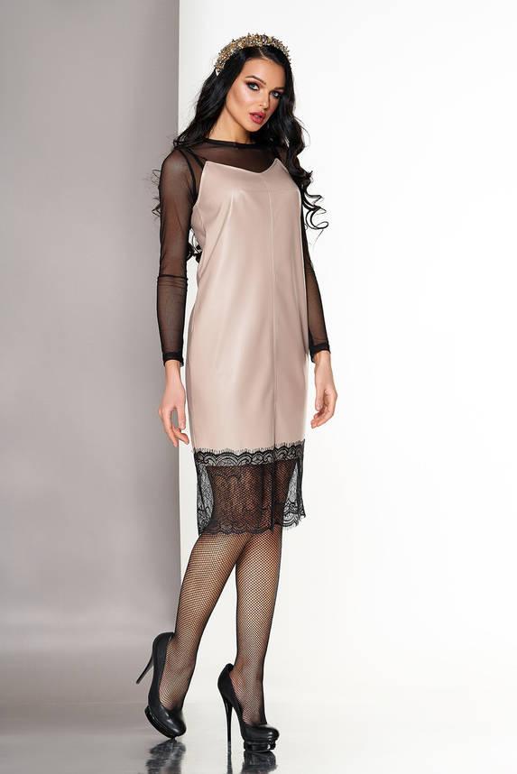 Кожаное платье двойка в бельевом стиле бежевое, фото 2