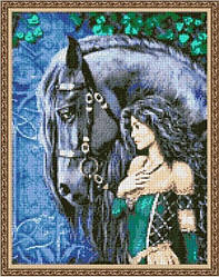 """Схема для вышивки бисером 38х29см """"Девушка с лошадью"""""""