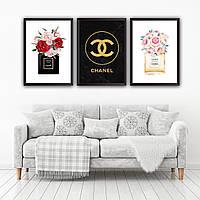 Набор постеров в рамках Chanel 3 шт. №2