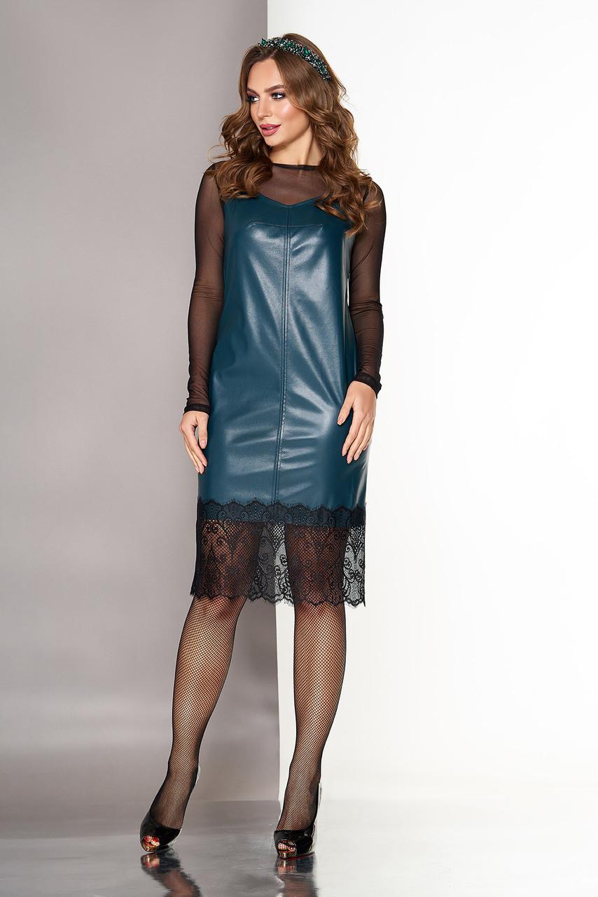 Кожаное платье двойка в бельевом стиле изумрудное