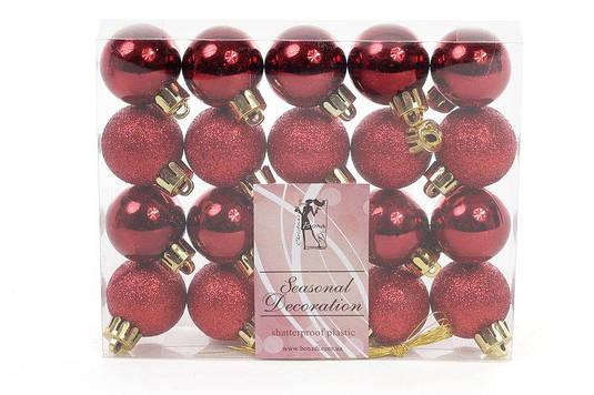 Набор елочных шаров 3см, цвет - бордо, 20 шт: глянец, глитер - по 10 шт BonaDi