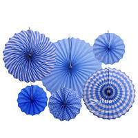 Набір блакитних підвісних декоративних віял із щільного паперу 6 шт