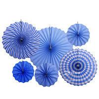 Набор голубых подвесных декоративных вееров из плотной бумаги  6 шт