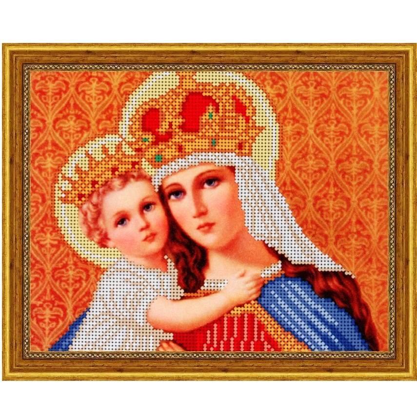 """Схема для вышивки бисером 24х19см """"Святая Мария с младенцем"""""""