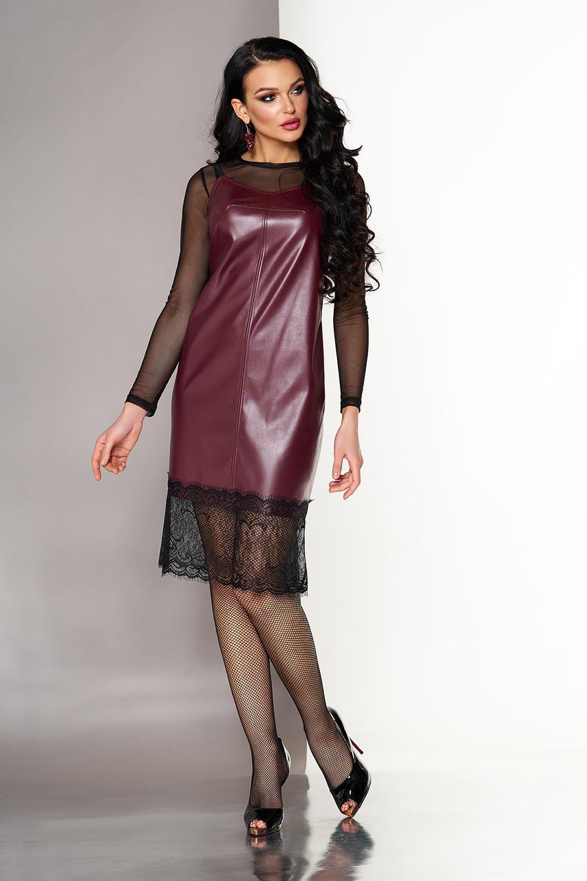 Кожаное платье двойка в бельевом стиле бордовое